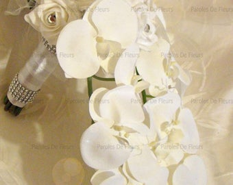 Fall bouquet of roses, orchids and diamond to customize