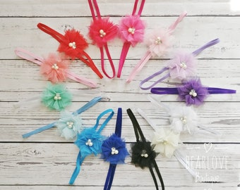 14 Colors Tulle Flower Headband | Baby Girl Headband | Baby Hair Accessories | Infant Toddler Hair Clips
