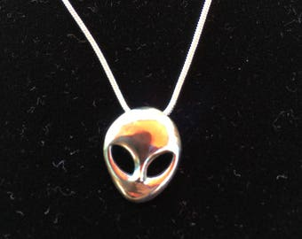 Sterling silver Alien Head necklace 925