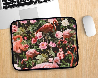 Floral and Flamingos Laptop Sleeve