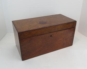 Antique Burled Mahogany Tea Caddy with Original Mixing Glass