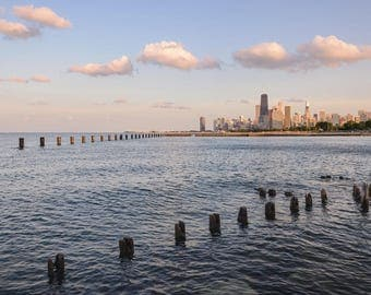 Chicago Skyline at Sunset with Clouds