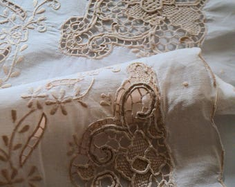 Antique french tea tablecloth, 1930s, Venice lace and embroideries, handwork