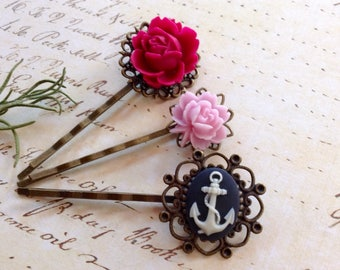 Anchors Away And Pink Roses Hair Clips