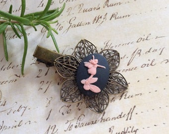 Pink on Black Garden Fairy Alligator Hair Clip
