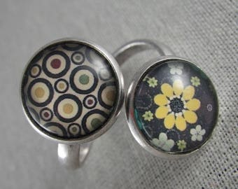 Bague056 - Ring double circles and yellow flower cabochons