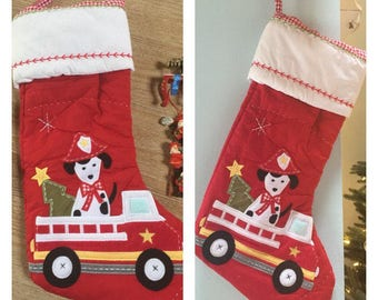 Firetruck Quilted Christmas Stocking- Personalized