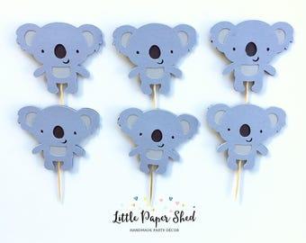 Handmade Cupcake Toppers - Koala Theme x12
