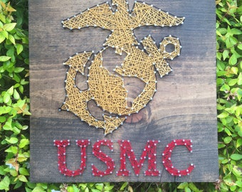 USMC United States Marine Corps EGA String Art Wood Sign Home Decor Military Pride Wall Art-Made to Order