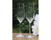 Reserved for Nahla / Custom Crystal Champagne Glasses / Set of 2 / Engraved Champagne Flutes / Wedding Glasses