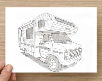 Ink Drawing of a Camper RV - Sketch, Art, Pen and Ink, 5x7, 8x10, Print, Vanlife, Sprinter Van, Camp, Recreational Vehicle, Vintage, Classic