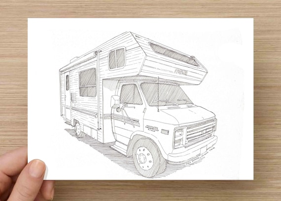 Ink Drawing Of A Camper RV Sketch Art Pen And 5x7