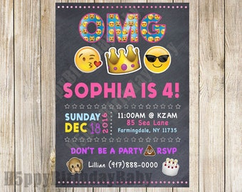 Digital File Only *** Customizable Chalkboard Emoji Birthday Invite!!!