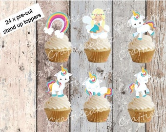 24 x Edible Pre Cut Baby Unicorn Stand Up Cupcake Toppers