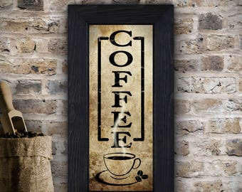 "Coffee Sign, Rustic Kitchen Sign, Kitchen Wall Decor, Coffee Decor, Rustic Wall Decor, Rustic Kitchen Wall Art, Kitchen Signs, 10"" x 20"""