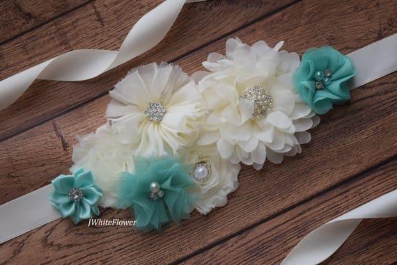 Flower Sash, aqua and ivory Sash,#2 , flower Belt, maternity sash, flower girl sash belt, flower sash