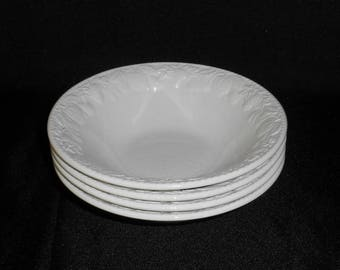 Barratt's Ironstone Lincoln White Coupe Cereal Bowls Embossed Fruit Pattern ~ Set of 4