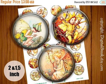 SALE 50% Digital Collage Sheet Fairies  2 inch 1.5 inch Printable circle images for Pocket Mirrors Magnets Labels - 284