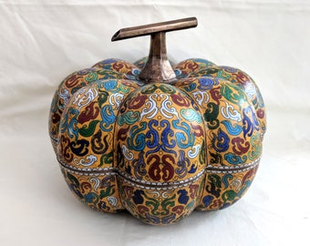 Chinese cloisonne enamel large pumpkin box, 9 x 12 inches
