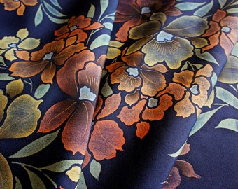 JPI - Vintage Japanese Kimono Silk Fabric **Hazy Navy**