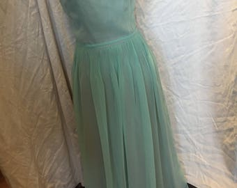 Peter Barron 70s pale green maxi dress
