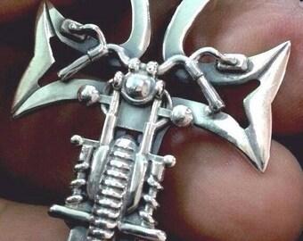 Solid Sterling Silver 925 Biker Cross Pendant Necklace Handmade !!!