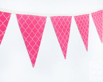 Fabric Bunting, Nursery Decor, Baby Girl Gift, Baby Shower Gift, Bedroom Decor, Photography Prop, Bright Pink, Reversible Bunting