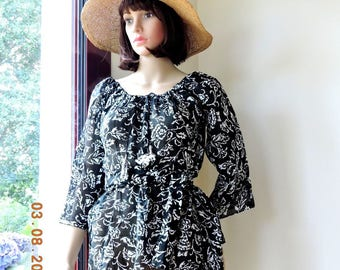 black and white Indian cotton voile tunic blouse 3/4 sleeves