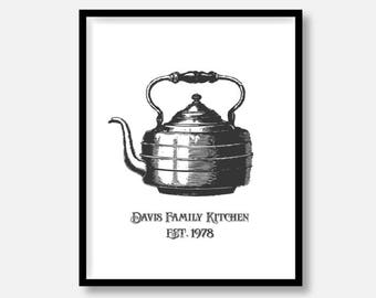 "CUSTOMIZED Kitchen Decor Pictures, Tea Pot Kettle, Vintage Sketchbook Design,  5x7"" 8x10"" 11x14"" avail., DIGITAL PRINTABLE File, Vintage Art"