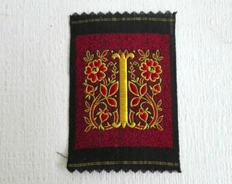 Antique Silk on Cotton Applique, Monogram I, Embroidered Letter I. Alphabet Patch, Monogram Patch, Antique Letter, Silk Thread, 1930's