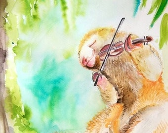 DIY Silky Anteater and fiddle original watercolor painting art Printable kids nursery decor baby shower gift cute animal wildlife musician