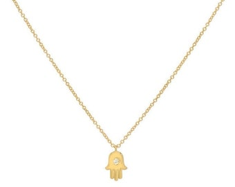 ON SALE 14k solid gold hamsa necklace, gold hand necklace