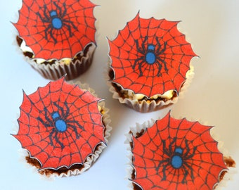 Edible Red & Blue Spider Webs x 15 Spiderweb Super Hero Wafer Paper Creepy Cupcake Toppers Superhero Halloween Cake Decorations Cookies