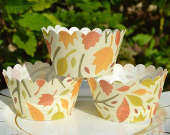 Edible Cupcake Wrappers Autumn Breeze x 12 Wafer Paper Leaves Patterned Fairy Cake Fall Leaf Cupcake Thanksgiving Wedding Party Favours