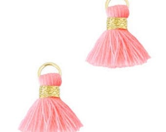 Beaded tassels, tassels, tassel pendant-1.5 cm-3 pcs.-Color selectable (color: light pink)