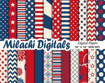 60 OFF SALE 4th Of July Digital Paper Patriotic Scrapbook Papers Fourth
