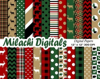 60% OFF SALE Lumberjack digital paper, buffalo plaid scrapbook papers, woodland wallpaper, moose background - M409
