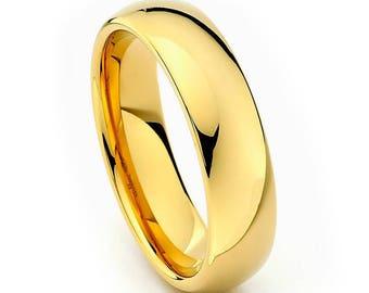 Stainless Steel Wedding Ring, 14K Gold Wedding Band, Men's Ring, Women's Ring, 6mm Stainless Steel Ring, Sizes 5-15 w/ half sizes!