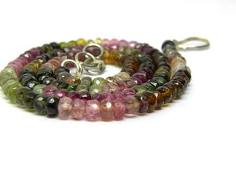 """Natural Tourmaline faceted beads necklace 4 m.m. beads 16""""necklace, multi tourmaline faected roundel beads necklace, shaded tourmaline beads"""
