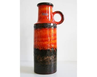 Scheurich Vase 401-28 West German Pottery Retro WGP Fat Lava red orange yellow