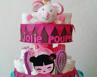"Customizable 2 floors ""Doll"" diaper cake"