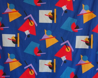 Large piece never used blue 1980s vintage cotton fabric suprematism Bauhaus Malevich Memphis new wave geometric abstract avant garde