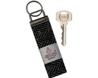 Harris Tweed Black & Charcoal Herringbone Pure Wool Keyring On Chunky Metal Key Fob