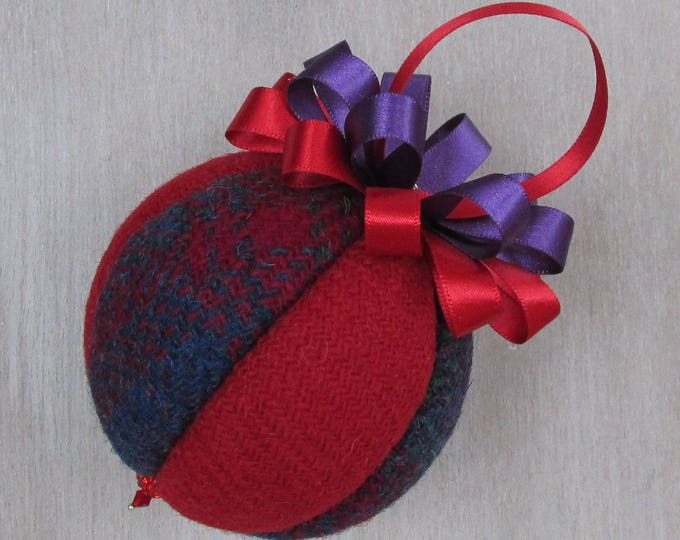 Harris Tweed Red & Purple Luxury Christmas Tree Bauble    #101