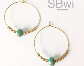 Geometric earrings in bronze with turquoise and metallic detail