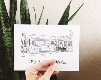 Custom House Portrait | First Home Sketch Art | Custom Home Drawing Art | Original Calligraphy House Outline | Our First House Gift