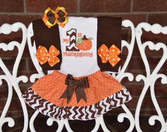 4 pc. My 1st Thanksgiving Outfit! Baby Girl First Thanksgiving Outfit/Thanksgiving outfit for baby girls/Thanksgiving pumpkin outfit/baby