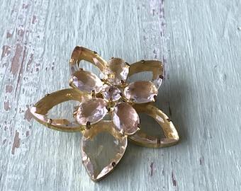 Vintage Brooch, Flower Brooch, Clear Stone Brooch, Vintage Brooches, Floral Brooch, Brooches, Pale Yellow Brooch, Large Brooch, Vintage Pins