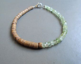 Bracelet Phrenite, coconut, and sterling silver / / nature jewelry
