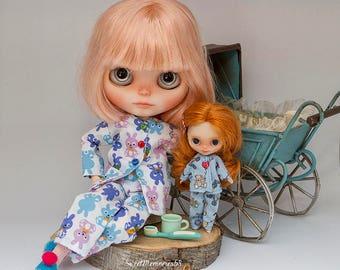 Blythe pajamas and slippers, blythe pyjamas, blythe pajamas, blythe jammies, middie blythe pyjamas, middie blythe pajamas (MADE TO ORDER)